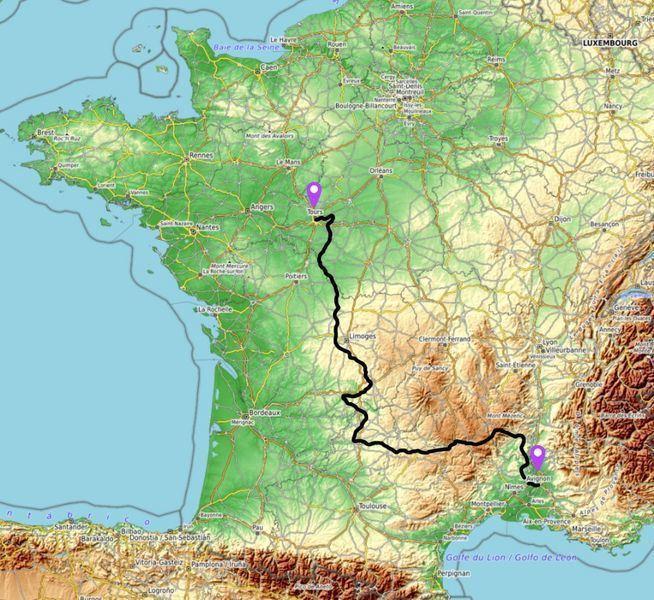 motorcycle tour france map