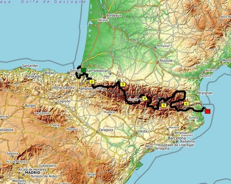 Pyrenees motorcycle tour map