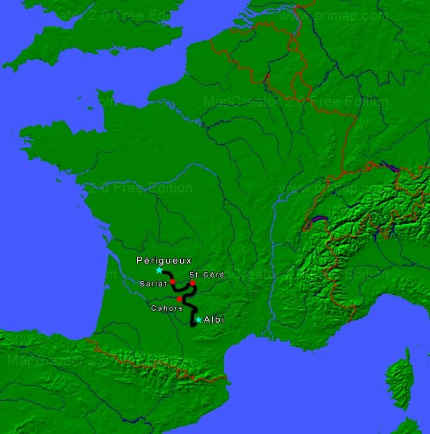 perigord motorcycle tour map