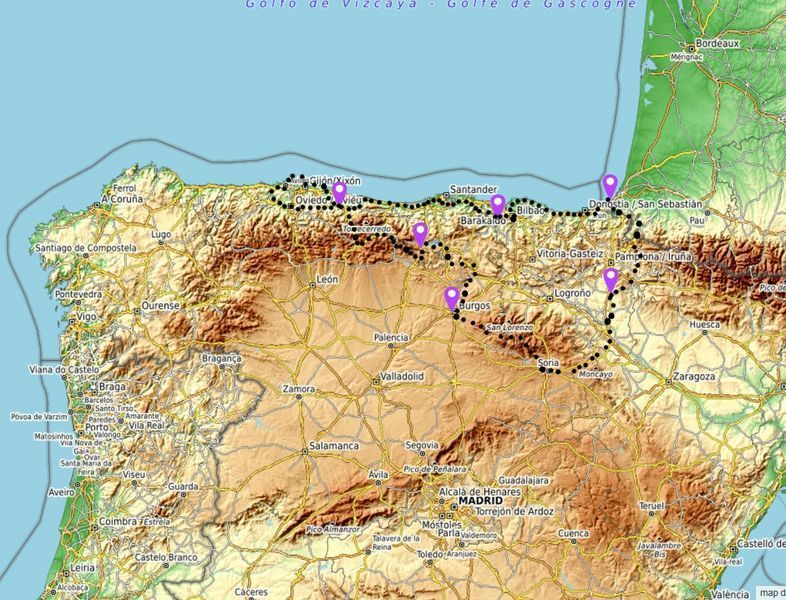 map asturias motorcycle tour