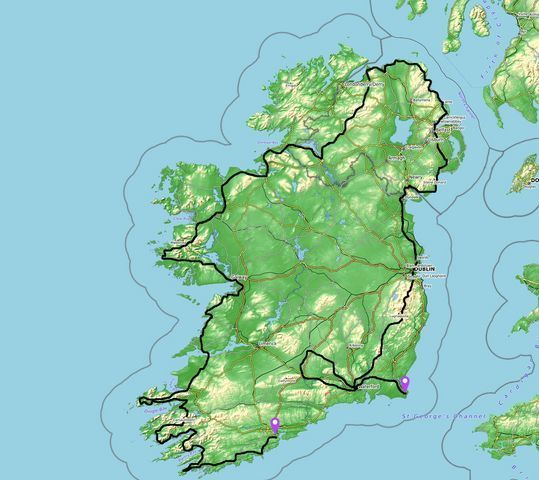 motorcycle tour of Ireland map