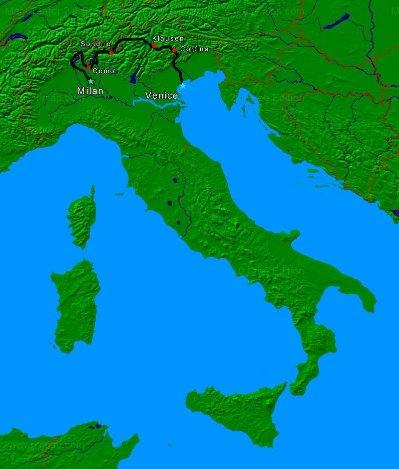 italy motorcycle tour map